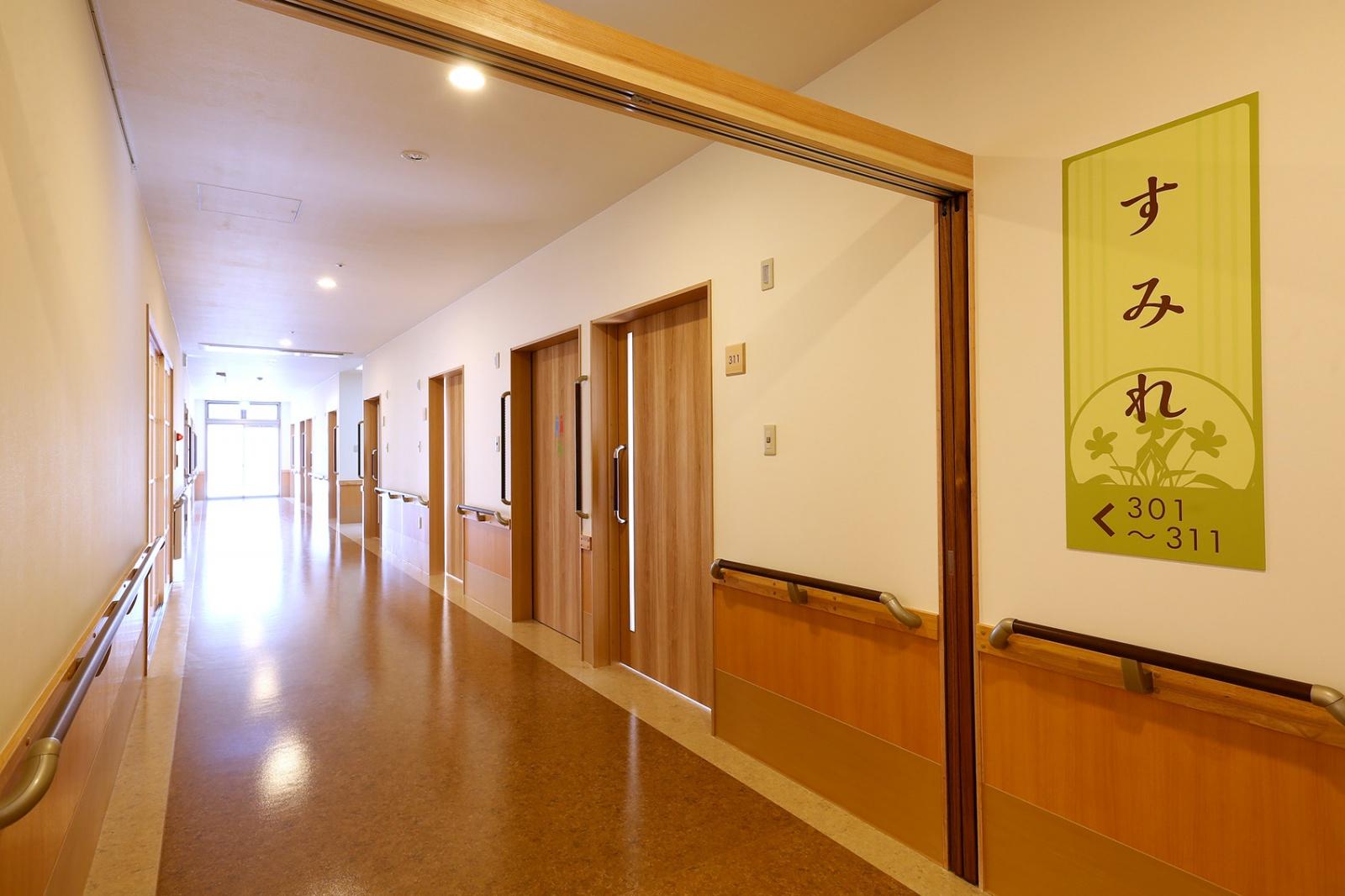 共用の廊下は幅が広く、陽光がふんだんに入ってきます。