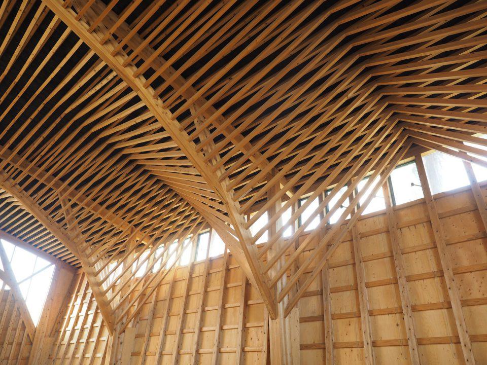 樹状トラス構造に組み上げられた部分。高窓から外光が採りこみ、やわらかな自然光が降り注ぐ設計に。